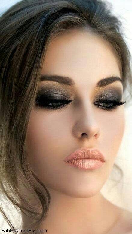 Beautiful makeup looks   black Smokey eye makeup look with nude lips