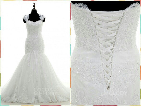 Charming Queen Anne Dropped Train Tulle Ivory Sleeveless Wedding Dress