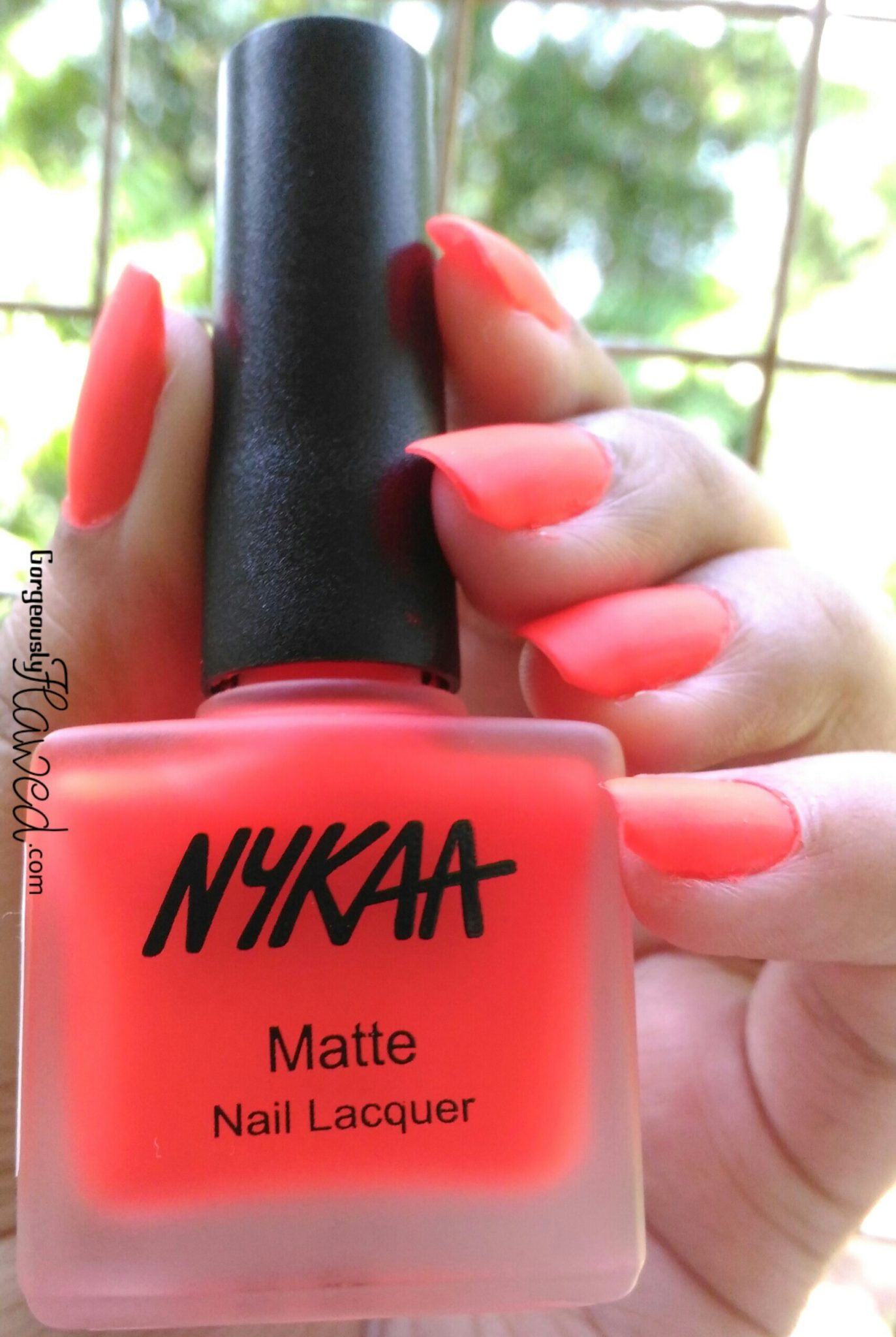Review & Swatches | New Nykaa Matte Neon Nail Enamel Cherry Pop