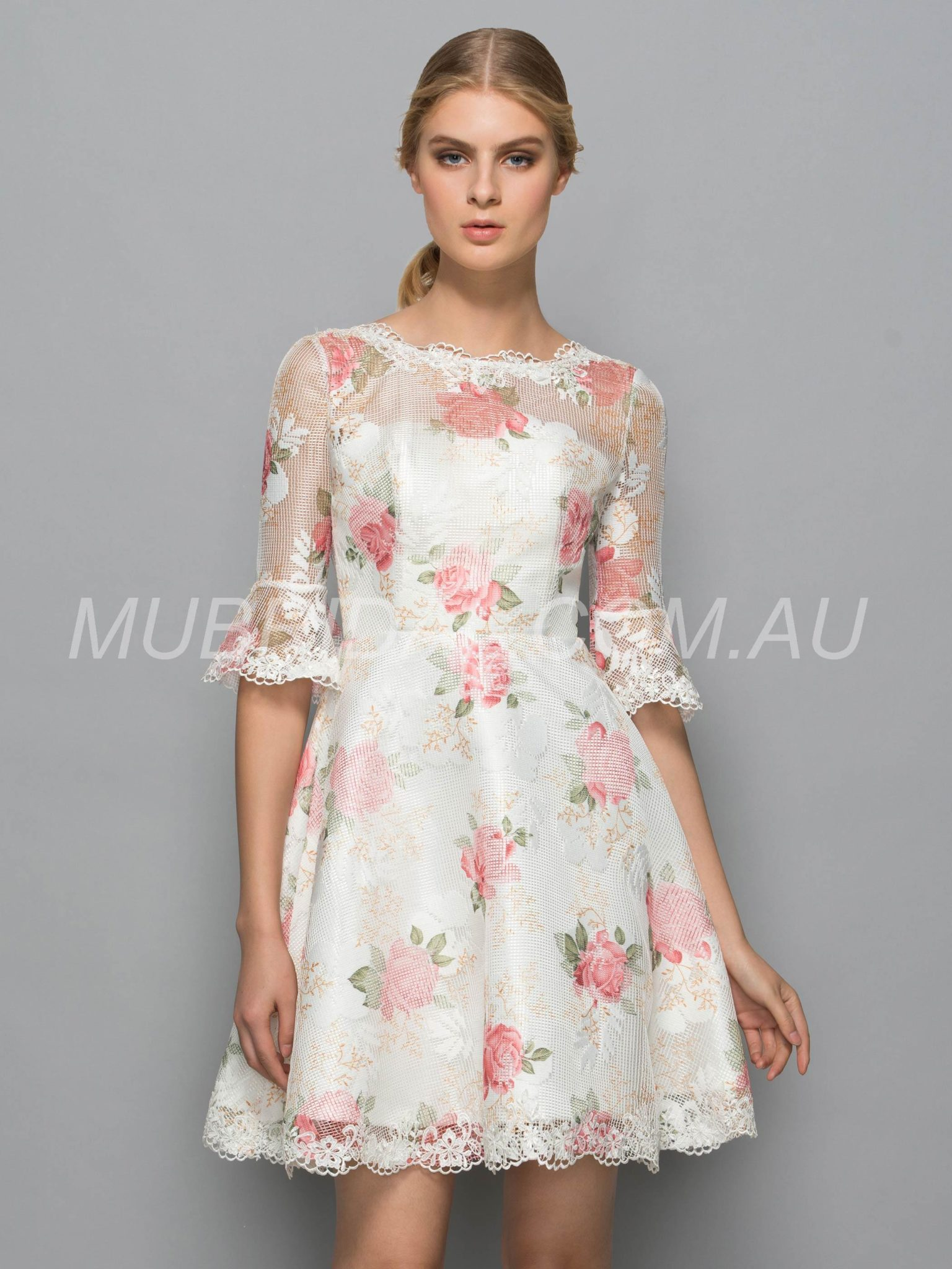Fall Summer Multi Color Cocktail Half Sleeves Natural Print Spring Dress