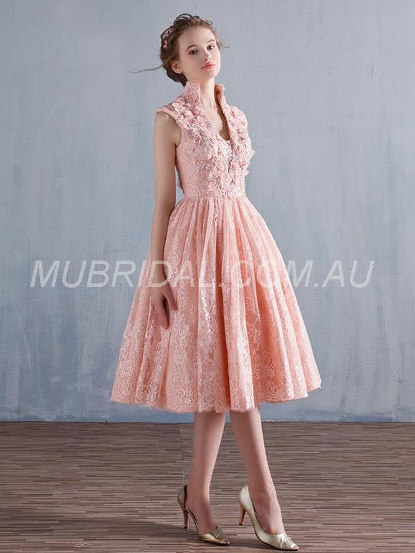 Natural Military Ball Appliques Cap Sleeves Prom Evening Lace Zipper-up Dress