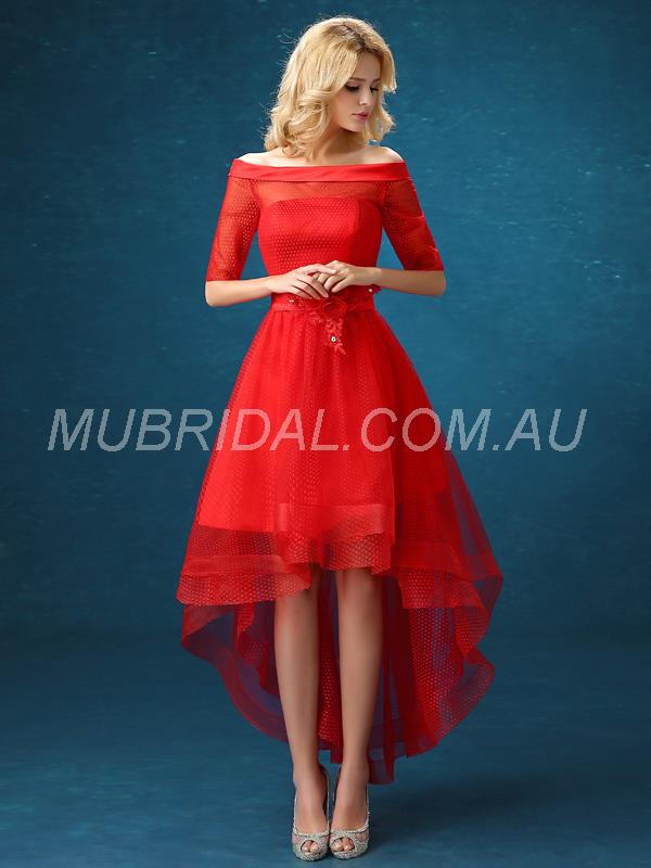 Cocktail All Sizes Off-the-Shoulder Appliques A-line Red Pleats Half Sleeves Dress