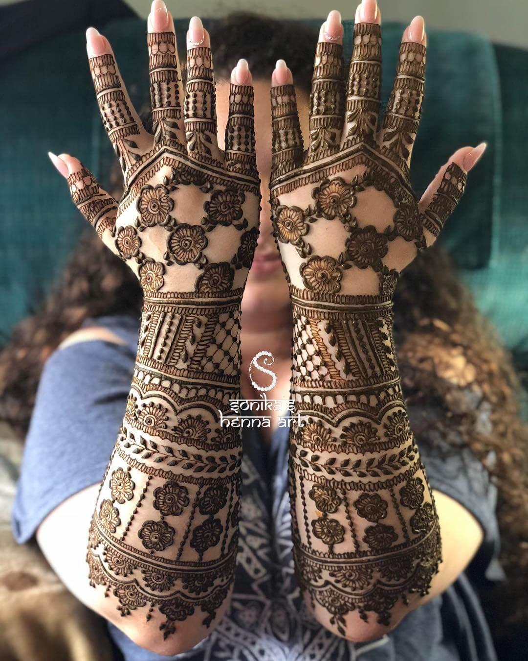 Grids bridal mehandi design 2019
