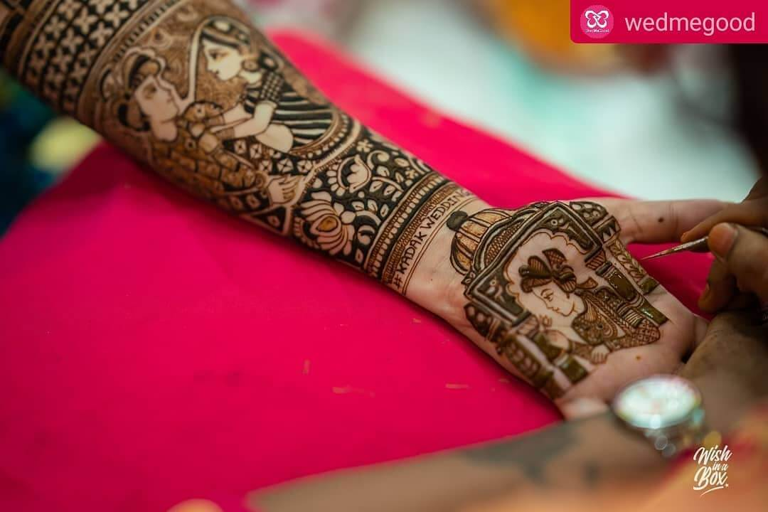 Indian wedding hashtag mehndi design for bride