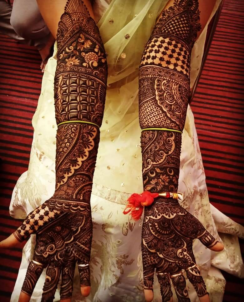 bridal mehndi designs for full hands front and back