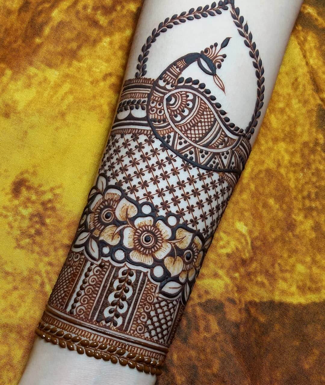 full arm mehndi design for bride