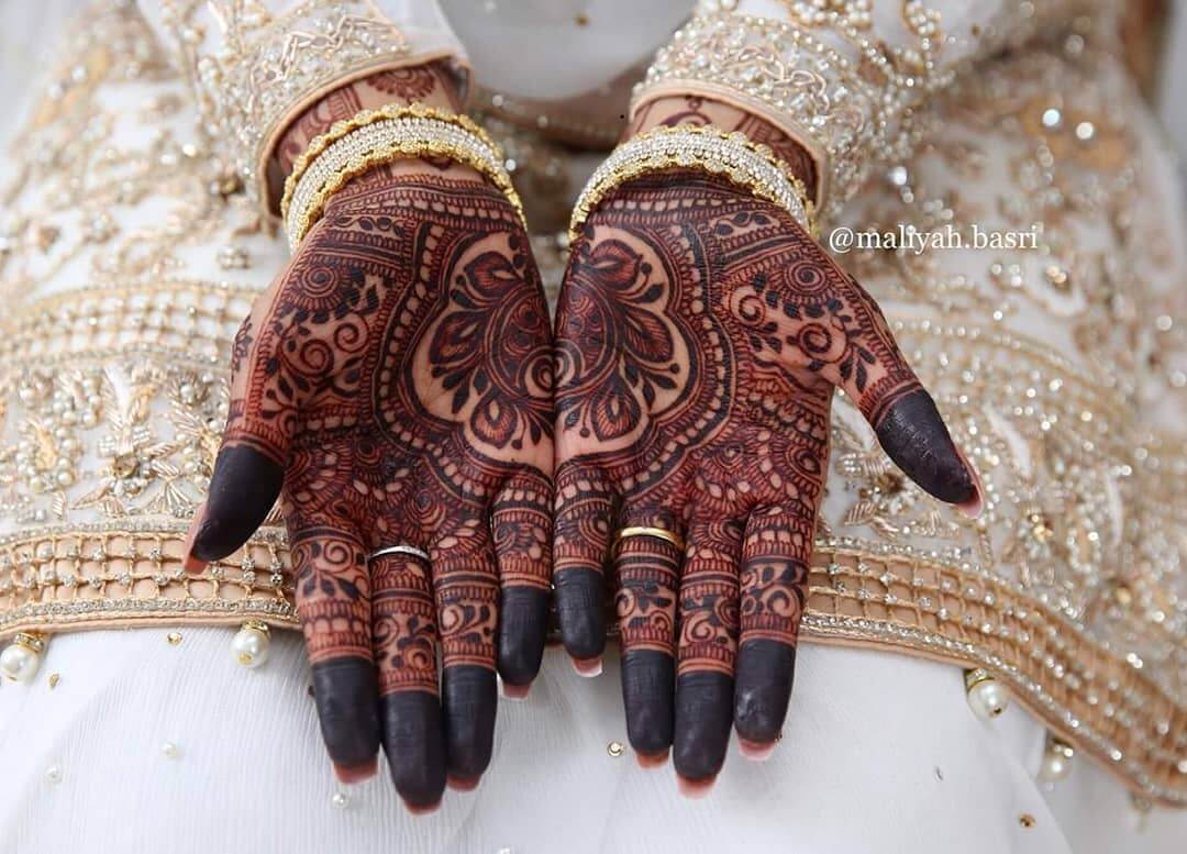 half and half mehndi design