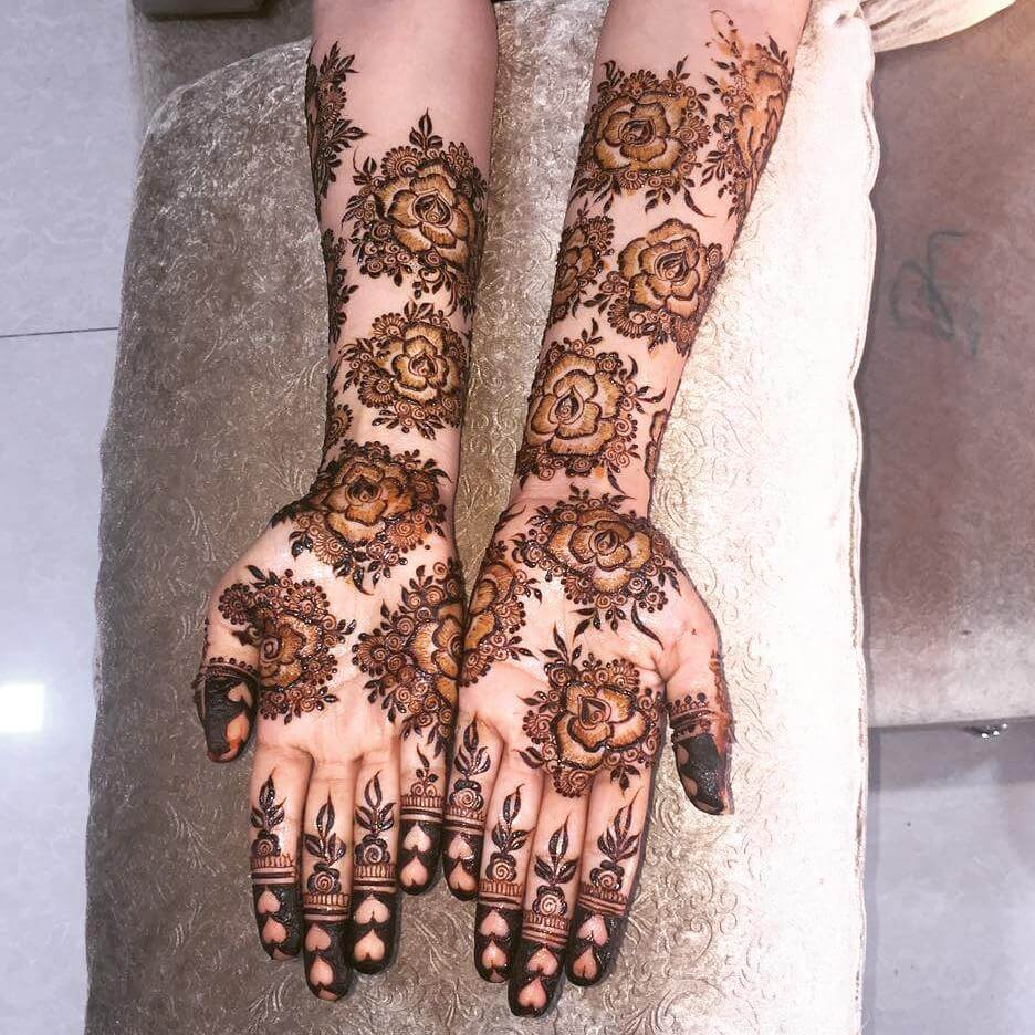 latest roses mehndi design for bride 2019