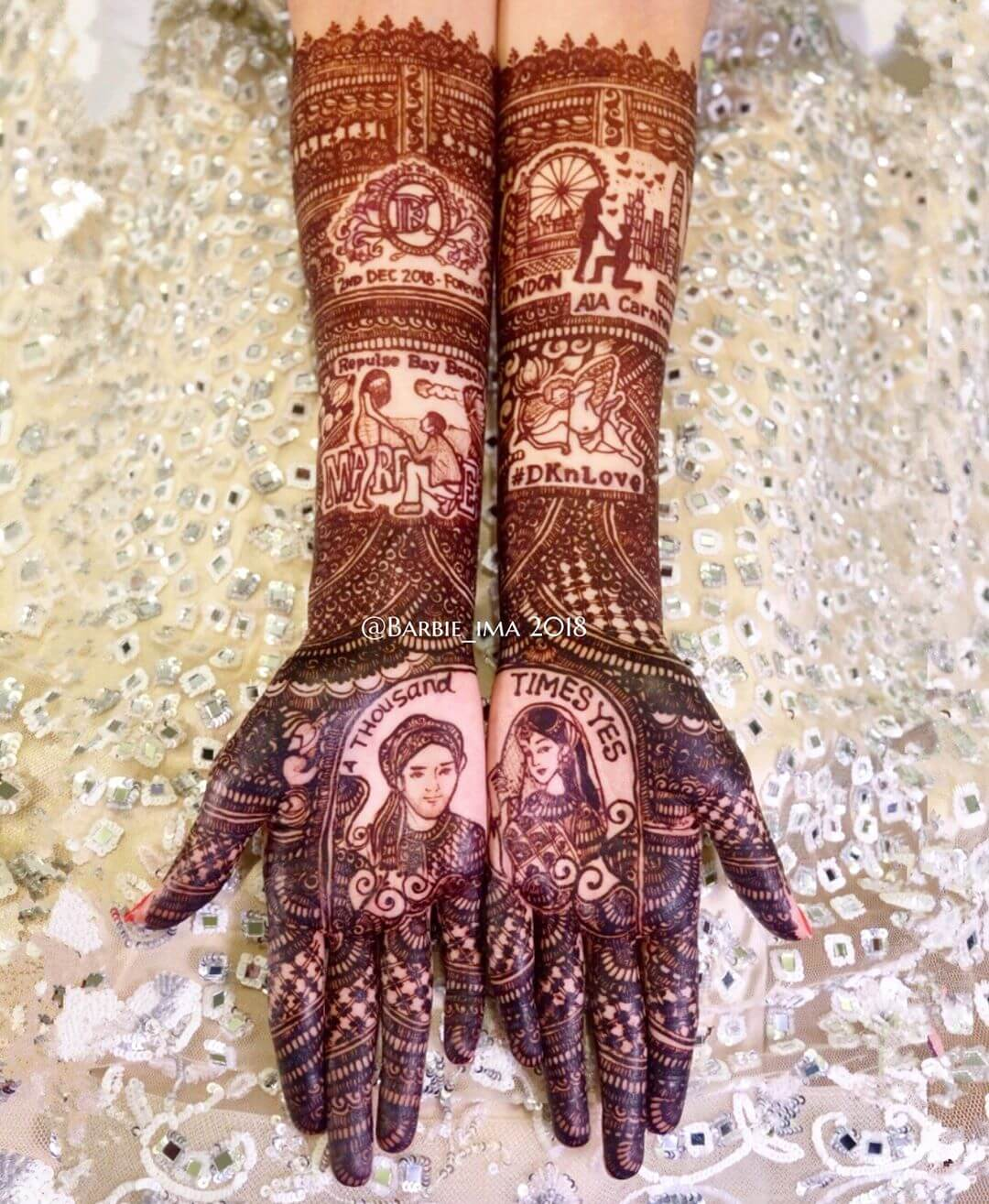 proposal mehndi design for bride