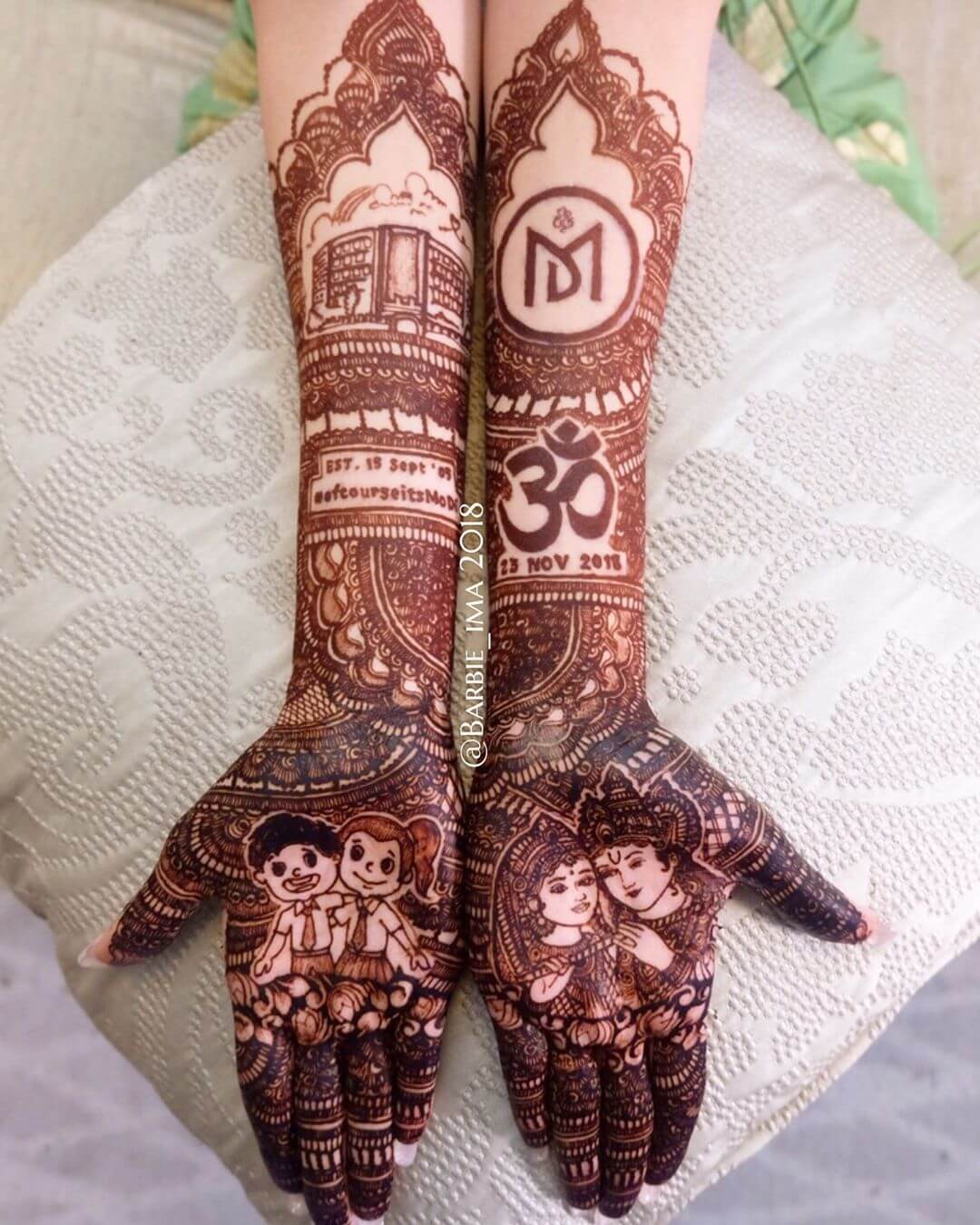 radha Krishna mehndi design for brides