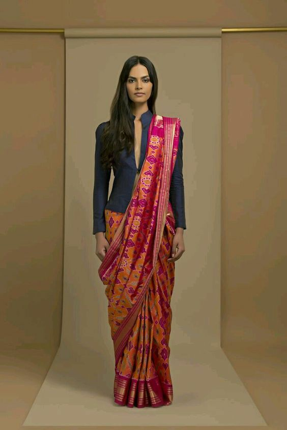 Jacket blouse design for saree