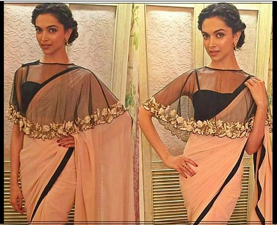 Deepika Padukone Inspired Cape Blouse Design For Saree