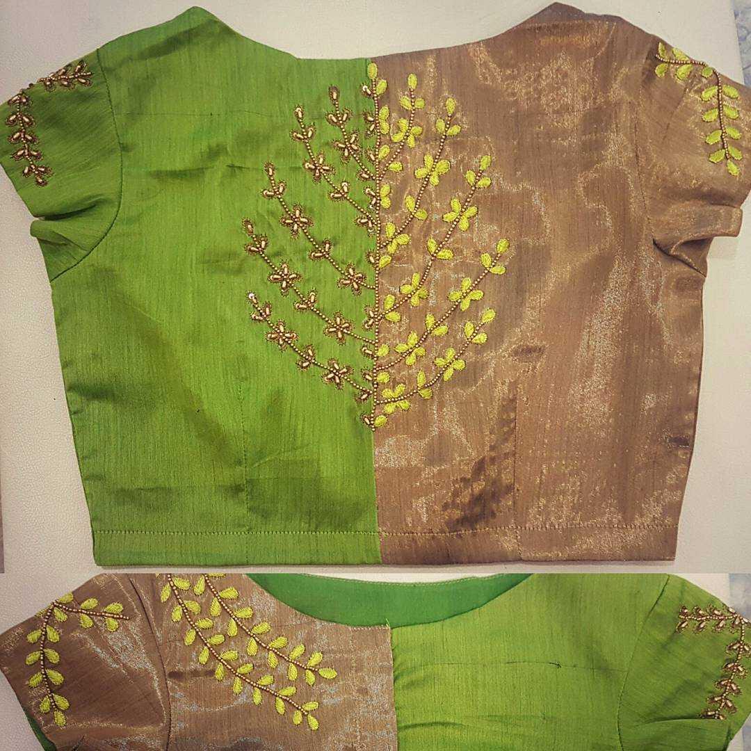Dual Toned Blouse design for silk saree