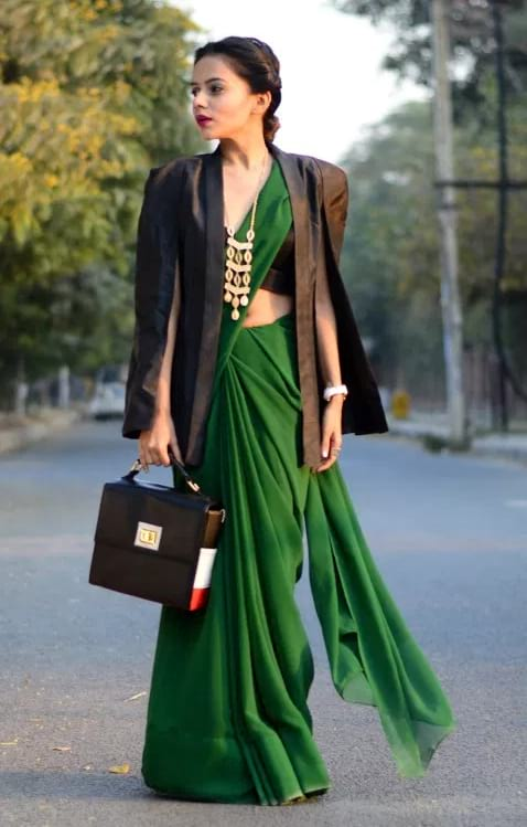 Rakhi Outfit Ideas [2019] - Cape Blazer With Saree