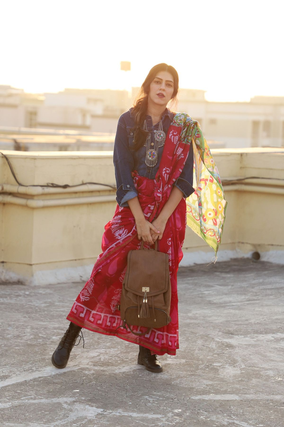Rakshabandhan Outfit Ideas [2019] Saree With Denim Jacket