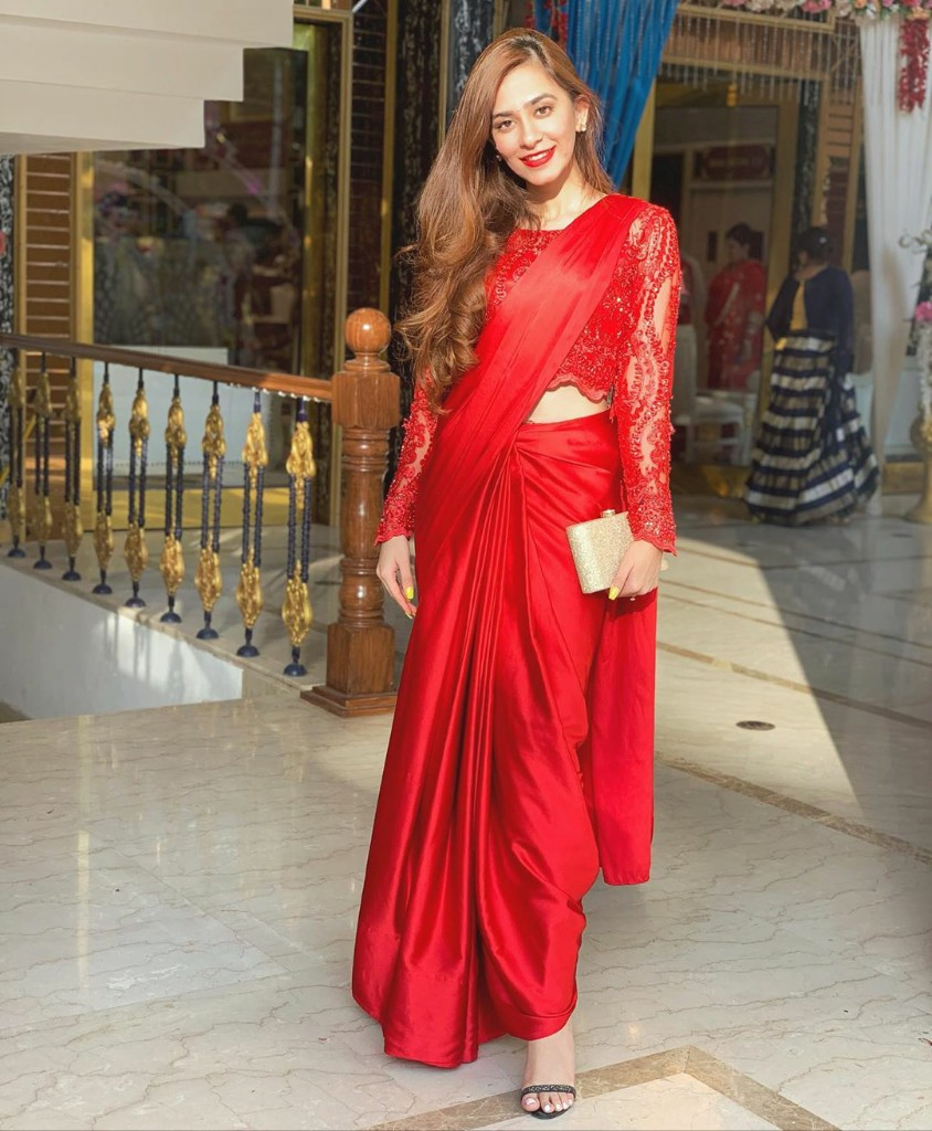 Label Aditi Khanna Hot Red Solid Saree