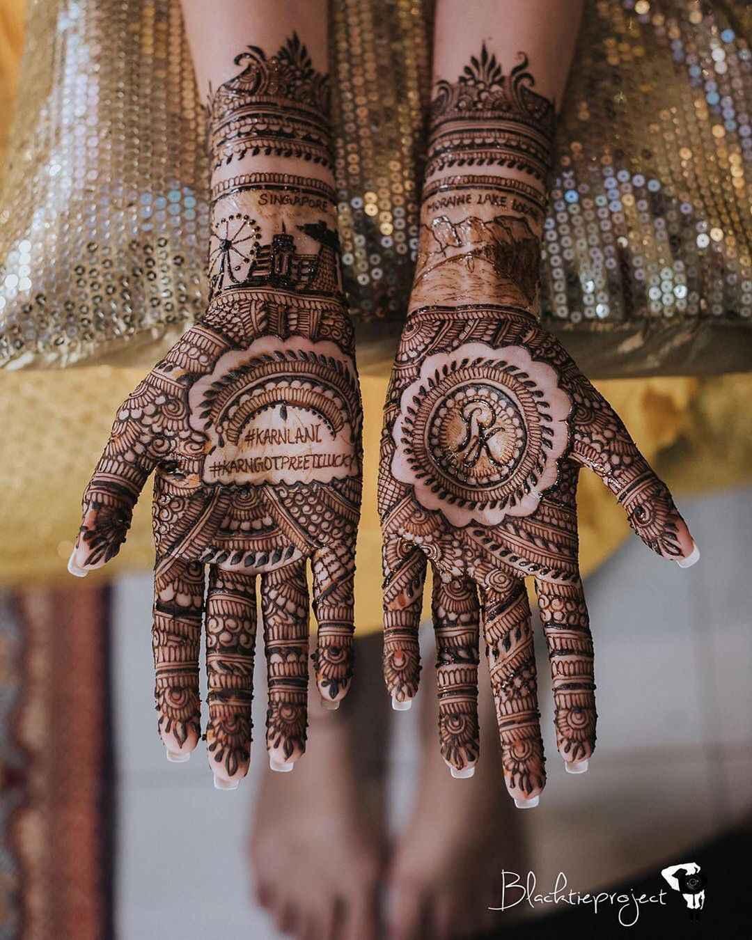 Hashtags & Portrait Mehndi Designs For Brides