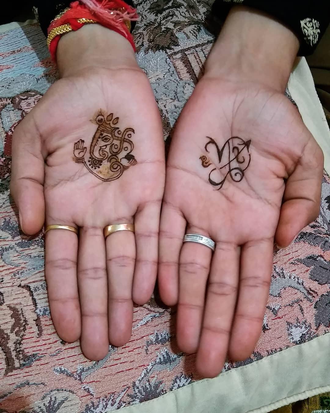 Ganesh Ji & Zodiac Sign Mehndi Design For Groom