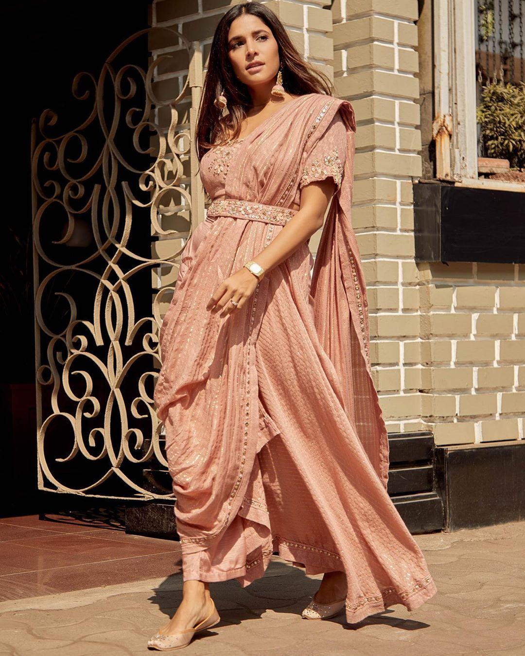 indo western saree for wedding