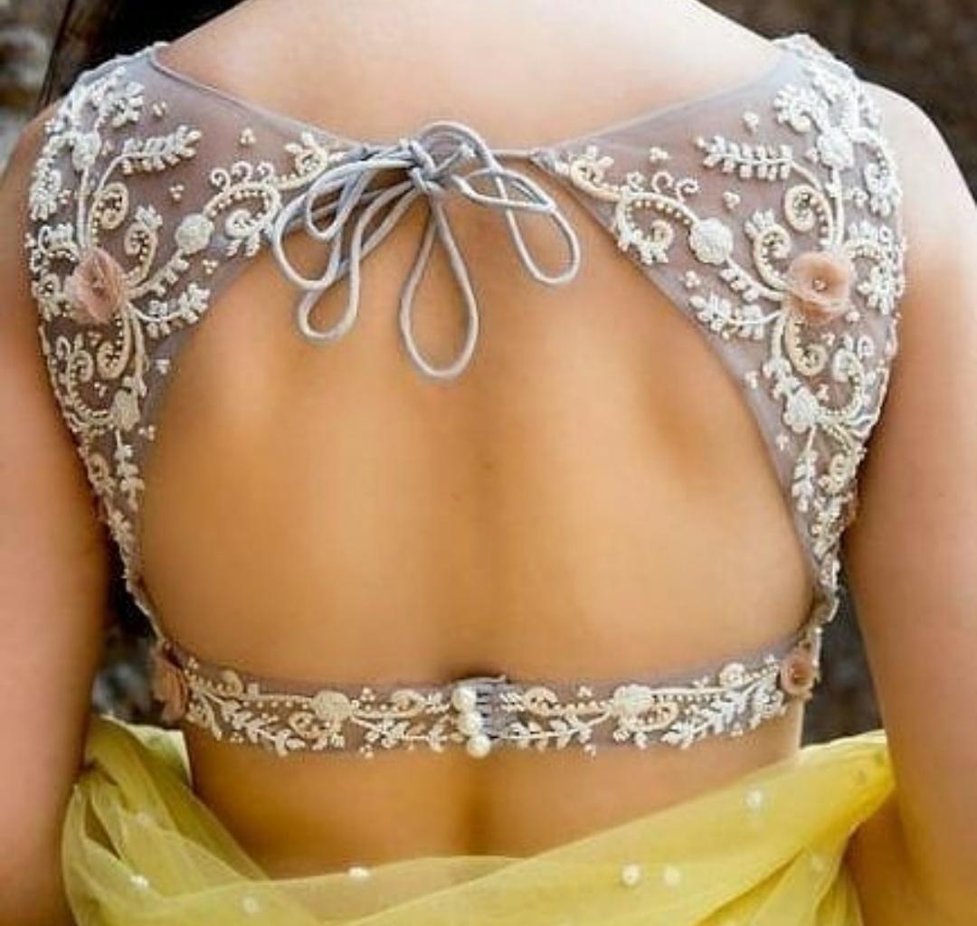 Basic Backless Blouse Design