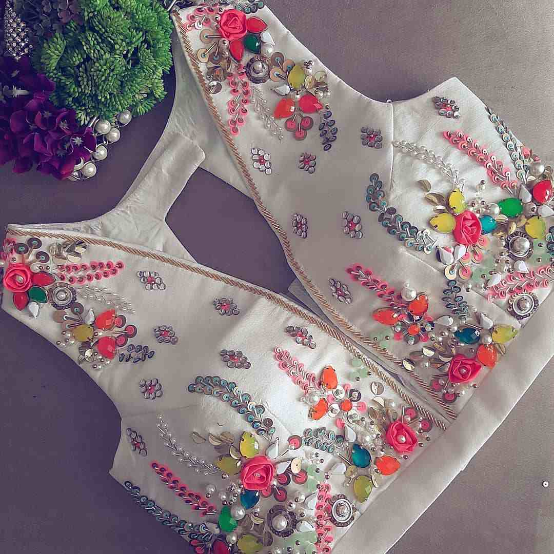 White Blouse Colourfully Embellished With Stones