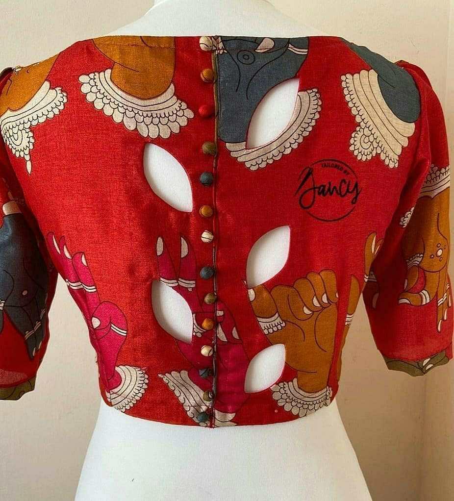 Cut-out Back Blouse Design Inspiration
