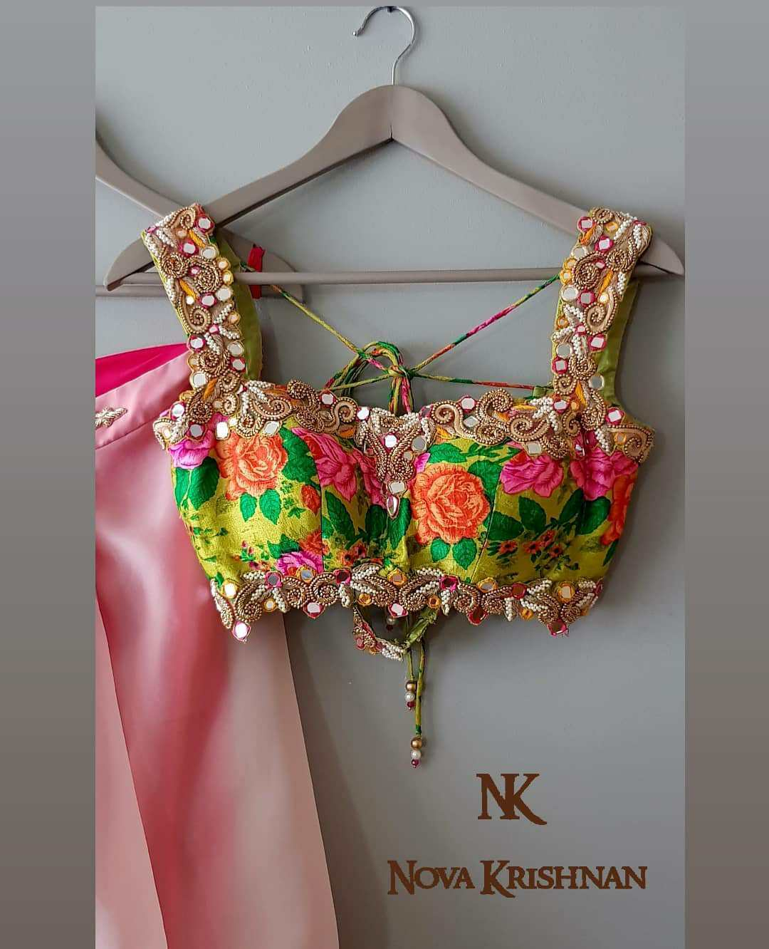 Colourful Blouse With Mirror Work