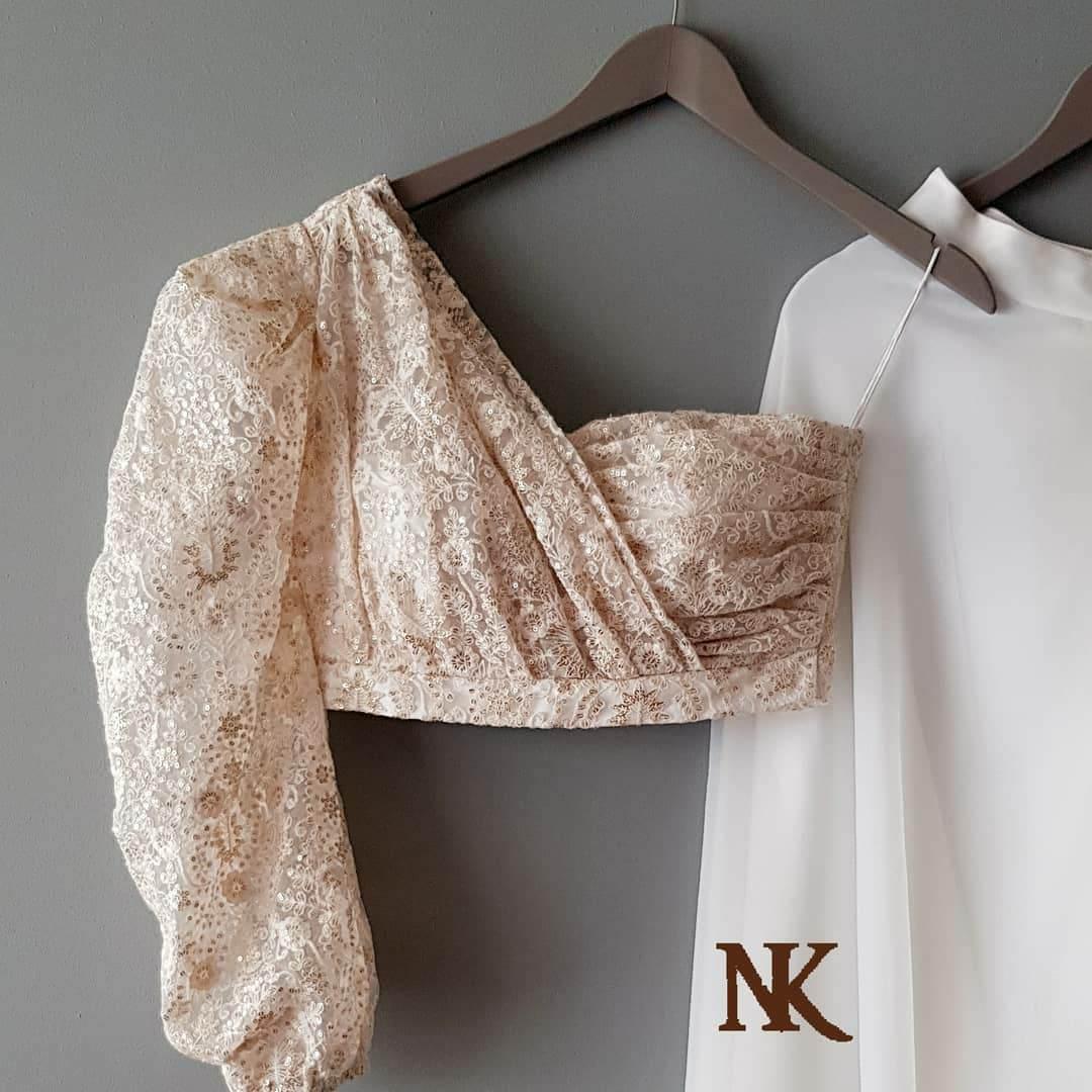 Trendy One-Shoulder New Blouse Designs