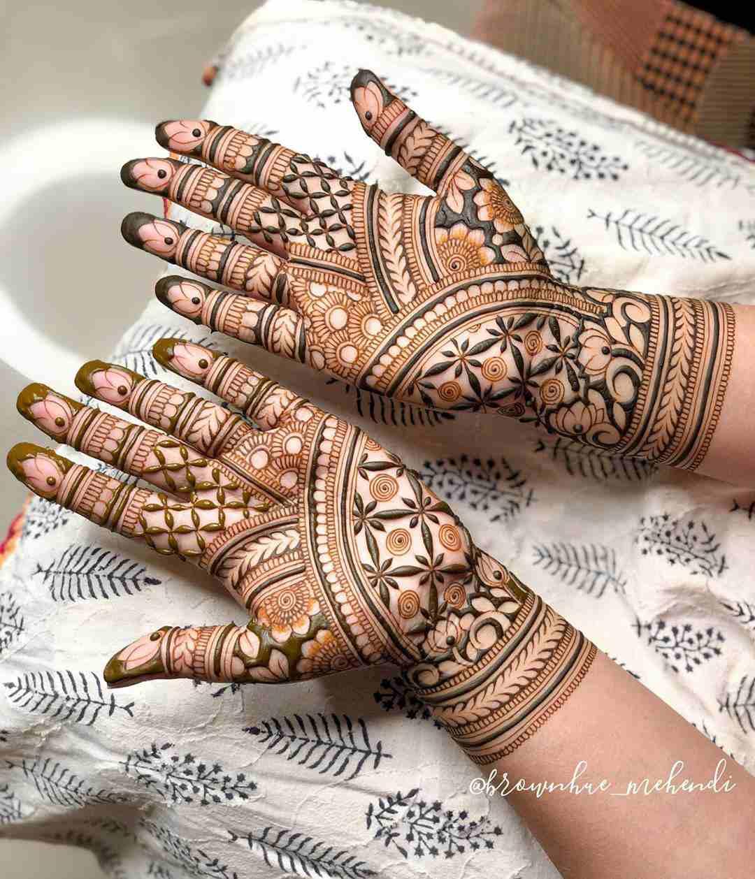 Bridal Style Mehndi Design For Both Hands